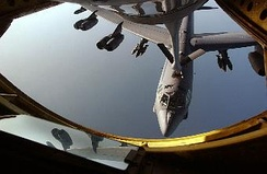 A B-52 being refueled over the Indian Ocean in June 1998, as seen from the refueling operator on a KC-135. The KC-135 crew is from the 931st Air Refueling Group at McConnell Air Force Base, KS, and was deployed to the 405th Air Expeditionary Wing to hit Iraq-associated targets during Operation Iraqi Freedom.