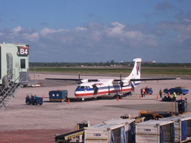 An American Eagle (Executive Airlines) Super ATR 72 at Santo Domingo Airport, Dominican Republic