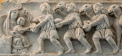 Adoration of the Child Jesus by the three wise men or Magi; Sarcophagus relief (4th century.), Vatican