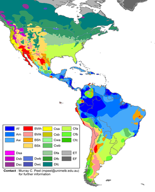 Climate zones of the Americas in the Köppen climate classification system.