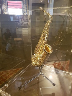 Saxophone of Bhumibol Adulyadej, displayed at Bangkok National Museum