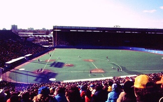 The Blue Jays' second game, against the Chicago White Sox at Exhibition Stadium in 1977. Unlike the first game, which was during a snow storm, the second game was played during sunny weather.