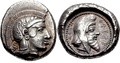 Coin of the dynast of Lycia, Kherei, with Athena on the obverse, and himself wearing the Persian cap on the reverse. 410–390 BC.