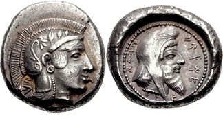 Dynast of Lycia, Kherei, with Athena on the obverse, and himself wearing the Persian cap on the reverse. Circa 440/30–410 BC.