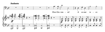 The opening bars of the Commendatore's aria in Mozart's opera Don Giovanni. The orchestra starts with a dissonant diminished seventh chord (G# dim7 with a B in the bass) moving to a dominant seventh chord (A7 with a C# in the bass) before resolving to the tonic chord (D minor) at the singer's entrance.