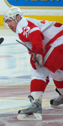 Draper prior to a faceoff against the Calgary Flames.
