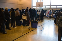 Voting taking place in a New York City polling station