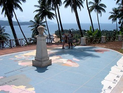 The equator marked as it crosses Ilhéu das Rolas, in São Tomé and Príncipe