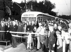 Mayor Ralph Day commissions Toronto′s first PCC streetcars on September 22, 1938.