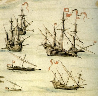 Depiction of the Expedition to Suez led by João de Castro in 1541, showing the main types of Portuguese ships that operated in the Indian Ocean in the 16th century, including two carracks, a galleon, two galleys and a round square caravel.