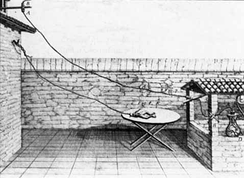 Late 1780s diagram of Galvani's experiment on frog legs