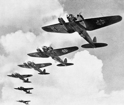 In the 20th century, air forces became a new military arm, fighting their own battles, as with these German bombers in the Battle of Britain