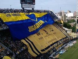 Boca Juniors' supporters displaying their flags at La Bombonera (north side), 2009