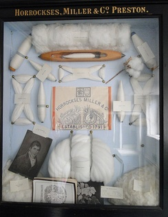 A display from a British cotton manufacturer of items used in a cotton mill during the Industrial Revolution.