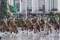 Turkmenistan ceremonial cavalry in the Independence Day parade 2011