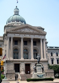 The Indiana Statehouse lies along the former US 40 alignment (Washington Street) in downtown Indianapolis