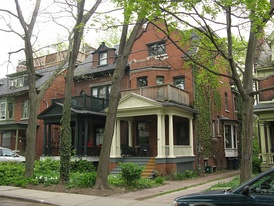 Jacobs lived at 69 Albany Avenue (white porch) in Toronto's Annex for 35 years