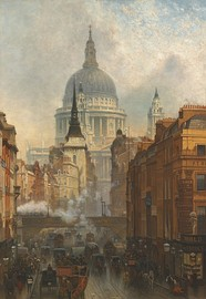 Oil painting, John O'Connor, Evening on Ludgate Hill (1887) St Paul's looms beyond St Martin's.