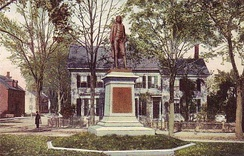 Statue of Josiah Bartlett, near the corner of Main and Heritage Vale Streets, Amesbury, Massachusetts.