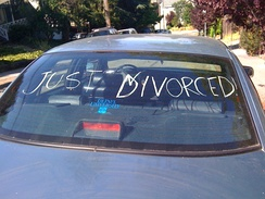 """Just Divorced!"" hand-written on an automobile's rear window."