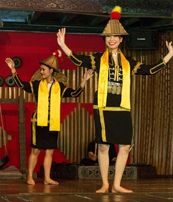 The Sumazau dance performance of Papar Kadazan at the Monsopiad Cultural Village.