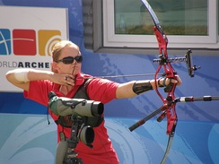 Archery: Lindsey Carmichael from the United States, at the 2008 Paralympic Games in Beijing.