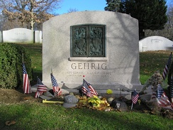 "Lou and Eleanor Gehrig's headstone in Kensico Cemetery (the year of his birth was erroneously inscribed as ""1905"")"