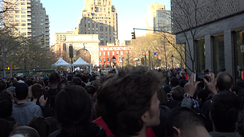 Part of the line to enter at the Bernie Sanders rally in Washington Square Park