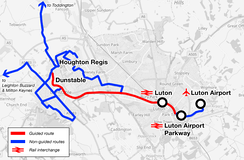 The Luton to Dunstable Busway route