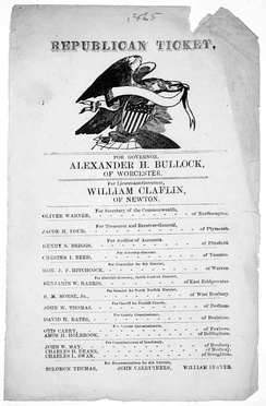 Republican Party ticket from 1865 gubernatorial election in Massachusetts.  The Republican candidate, Alexander H. Bullock, defeated Democratic challenger Darius N. Couch.