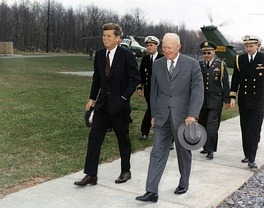 President John F. Kennedy meets with Eisenhower at Camp David, April 22, 1961, three days after the failed Bay of Pigs Invasion