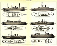Illustration of several armored ships from the 1880s, showing the degree of experimentation with armament arrangements