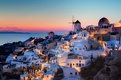 View from Santorini in Greece. Tourism is an important part of the Greek economy.