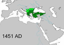 The Ottoman Empire at the beginning of Mehmed II's second reign.