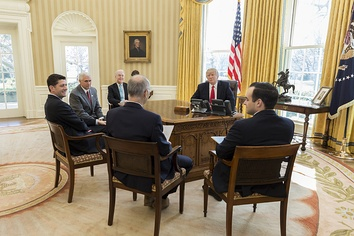 President Donald Trump meets with (from left) U.S. Secretary of Health and Human Services Tom Price; Vice President Mike Pence; Speaker of the House Paul Ryan; Zeke Emanuel; and Director of the Domestic Policy Council Andrew Bremberg, Monday, March 20, 2017, in the Oval Office.