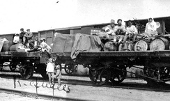Refugees on flatcars
