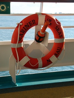 Ring buoy with a light on a cruise ship