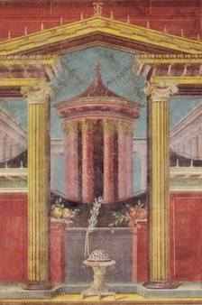 The background buildings in this first-century BC fresco from the Villa of P. Fannius Synistor show the primitive use of vanishing points.[7]
