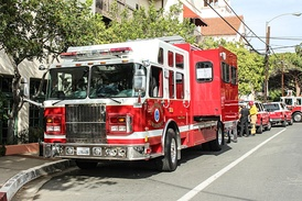 The Santa Barbara Fire Department Hazmat vehicle staged at an incident.