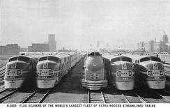 The Atchison, Topeka and Santa Fe Railway's Streamliner locomotives circa 1938