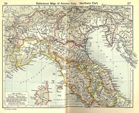 Northern and southern section of Italia under Augustus and successors
