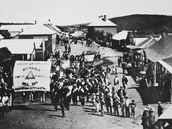 Sons of Temperance procession, Hill End, New South Wales, 1872