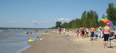 Bathers at Southwick Beach State Park, eastern shore of Lake Ontario, New York State