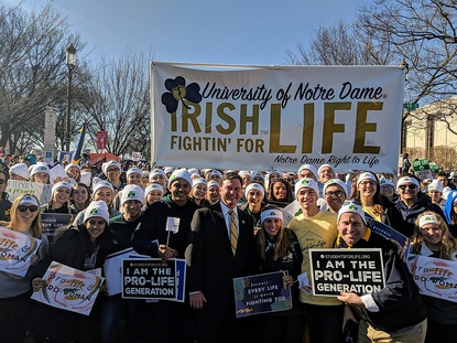 Todd Rokita greets March for Life participants from the University of Notre Dame