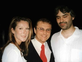 Tony Renis with Celine Dion and Andrea Bocelli in 2002.