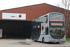 Transdev Burnley's 2768, branded for the Witch Way service X43, leaving Burnley Queensgate depot.