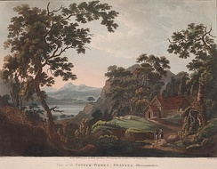 A romanticised depiction of early copper smelting works in the Lower Swansea Valley (c. 1800)