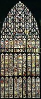 "The Great East Window of York Minster, ""Apocalypse"" (1405-1408) in the Perpendicular style"