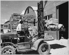 A forklift truck being used during World War II