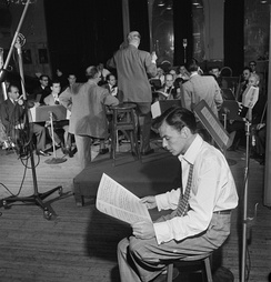 Sinatra with Axel Stordahl at the Liederkrantz Hall in New York, c. 1947